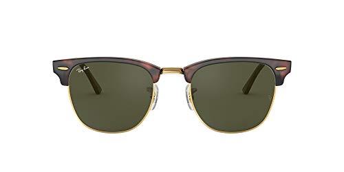 Ray-Ban RB3016 Clubmaster Square Sunglasses, Mock Tortoise Gold/Green, 49 mm (Arten Von Rayban Wayfarers)