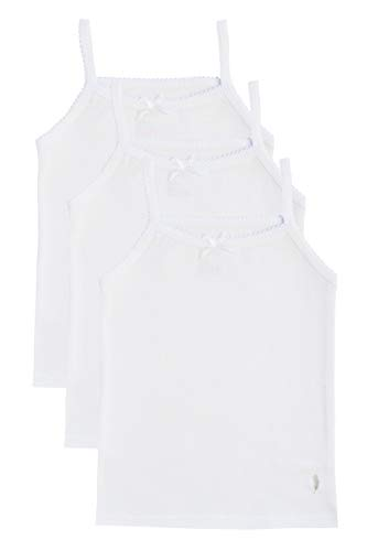 Feathers Girls Solid White Tagless Cami Super Soft Undershirts (3/Pack) 2 yrs, White