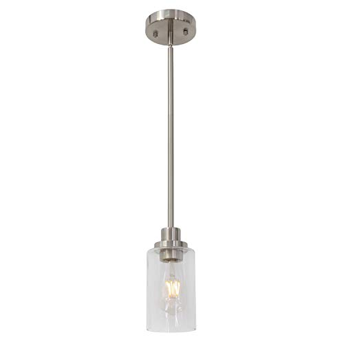 TODOLUZ Modern 1 Light Pendant Light Brushed Nickel with Clear Hammered Glass Cylinder Shade Hanging Lamp Fixture for Dining Room Kitchen Bedroom