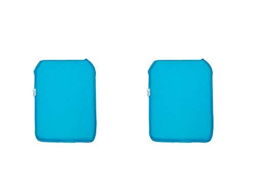 Catay Home Pack de 2 Cojines Cuadrados para Silla en 9 Colores Disponibles 38x39,8x2,5 Centímetros (Turquesa)