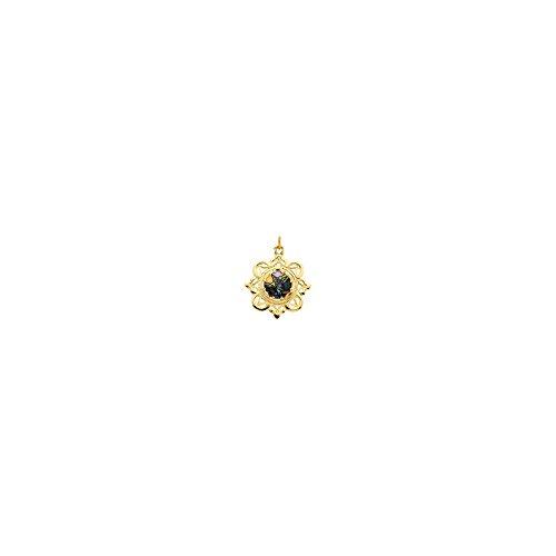10K Yellow Gold 25.75x25.75mm Guardian Angel Framed Enamel Pendant