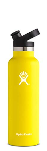 Hydro Flask 21 oz Water Bottle - Stainless Steel & Vacuum Insulated - Standard Mouth with Sport Cap - Lemon]()