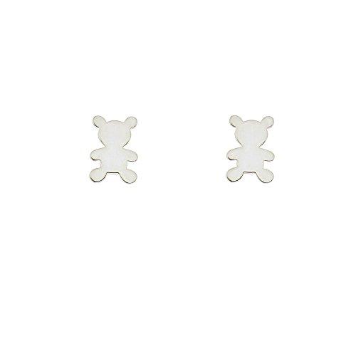Diane Lo'ren Children's .925 Sterling Silver Stud Earrings (Teddy Bear)