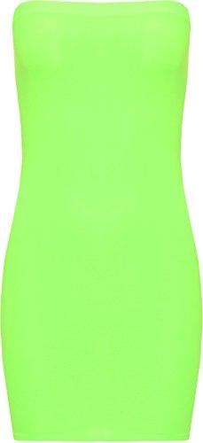 WearAll - Femmes Nichon Tube tendue Moulante Court Sans Manches Haut Mini Robe - Robes - Femmes - Tailles 36-42 Vert Fluorescent