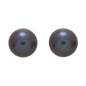 So Chic Bijoux © Boucles d'oreilles Femme Puces Perle Eau Douce 6 mm Noire Or Jaune 750/000 (18 carats)