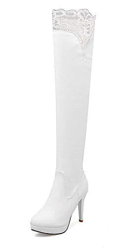 Ginocchio sopra Donna Tacco YE Pizzo Plateau Scarpe Invernali Eleganti Alto e a e Bianco con Stivali Cerniera Boots Moda con Spillo dtqtx4E8