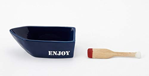 Mud Pie Home Lake Retreat Collection Blue Dip Bowl and Oar Spreader ()