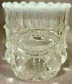 French White Opalescent Glass Eyewinker Pattern Toothpick Holder ()