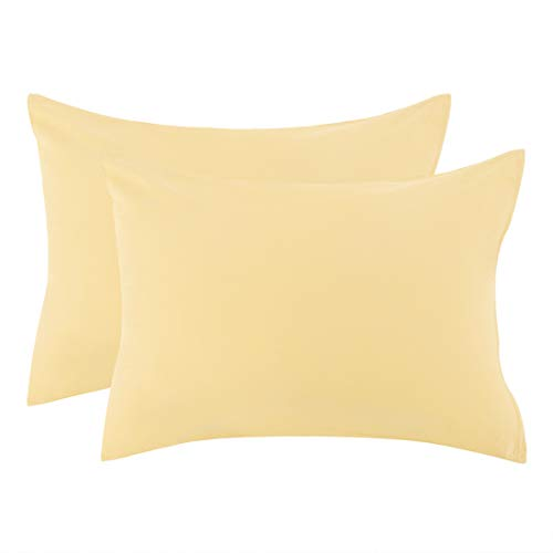 uxcell Zippered King Pillow Cases Pillowcases Covers Protectors, Egyptian Cotton 300 Thread Count, 20 x 36 Inch, Yellow, Set of 2