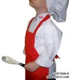 [CHEFSKIN RED APRON + WHITE HAT SM fits Kids 2-8 SCHOOL, HALLOWEEN] (Used Fancy Dress Costumes Ebay)