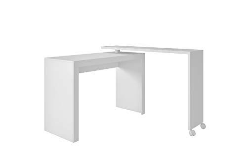 Tumueblekit ME900301XXXBL Mesa Escritorio De Oficina para Ordenador con Sistema Giratorio, Mdp, Blanco, 81X120X46