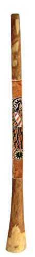 "Didgeridoo made from Yellowbox or Redwood eucalyptus with Dotpaint, treated with linsed oil.60"" long, 2"" mouth piece, 5-6"" bell end. Because of its density, sound characteristics and stability this wood is the best wood for Didgeridoos.It´s also well..."