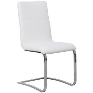 Cantilever white leather dining chair chrome frame amazon for White chrome dining chairs