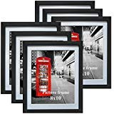 Amazing Roo Set of 6 Black Picture Frames with Mat for Wall or Table Top Decoration (3.5x5/8x10/11x14/11x17 Inch Photo Frames)