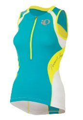 Pearl Izumi Women's Elite In-R-Cool Tri Sleeveless Jersey Scuba Blue/Screaming Yellow X-Small