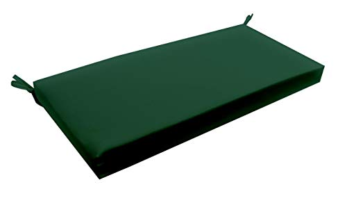 RSH Décor Indoor/Outdoor Decorative 3 Inch Foam Bench Made with Solid Hunter Green Fabric ()