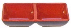 JapanBargain S-2395 Melamine Two Compartment Sauce Dish #333-BR, Black/Red 2 Compartment Sauce Dish