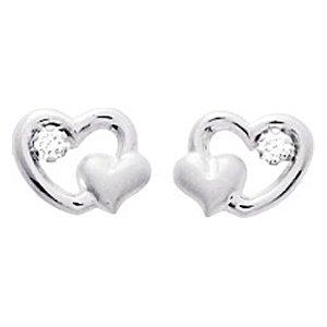 So Chic Bijoux © Boucles d'oreilles Femme Fille Double Coeur & Oxyde de Zirconium Or Blanc 750/000 (18 carats)