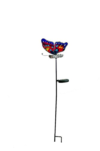 Continental Art Center Butterfly Solar Stake, Pink and Bl...