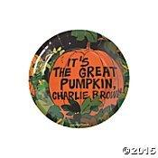 Peanuts Halloween Paper Plates Dessert Size 'Its the Great Pumpkin, Charlie Brown'