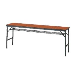 ワイドフレーム(塗装脚)折りたたみテーブル(棚付)(W1500×D450×H700mm)  MT-1550WT□ B00MFV7G22T(チーク)