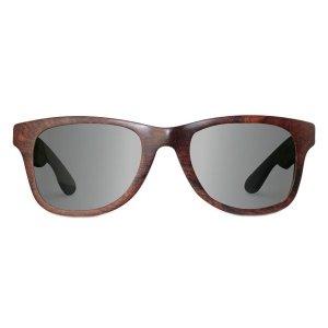 WOOED La Mer Reclaimed Cocobolo Wooden Sunglasses, Medium, Black