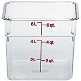Cambro Bundle 6 Quart (6SFSCW135) and 8 Quart (6SFSCW135) Camsquare Food Containers, NSF Clear Polycarbonate. Includes 2 Red Lids fit both the 6 & 8 Quart Containers.