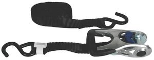 1'' x 14' 600lb-WLL Black Standard Duty Titan Ratchet Strap Tie Down with Aluminum Handle and Coated S-Hook