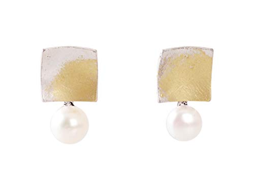 Heaven's Hailey Freshwater Pearl Burnished Silver Stud Earrings for Women- 'Noble Freesia' Special Occasions & Daily Wear Accessories Silver Post Finish Comes in a Gift Box, Handcraft Jewelry in Korea