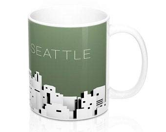 Promini White Ceramic Mugs The Seattle Paper City Skyline Mug Glass Coffee Tea Mug Cup Funny Coffee Mugs for Friends, Brothers, Coworkers & More 11oz -