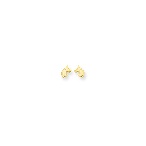 Solid 14k Yellow Gold Unicorn Post Earrings (5mm x 8mm) 14k Yellow Gold Unicorn