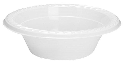 Basix starke Qualität Einweg Kunststoff Plastik Teller/Schüsseln mikrowellengeeignet, weiß, 12oz. - 350ml