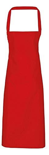 Unisex Full Bib Bar No Pocket Anti Tangle Tie Apron Restaurant Waitress Tabard#(Red Bar Bib Apron#One Size#Womens) (Hot N Fresh Out The Kitchen Apron)