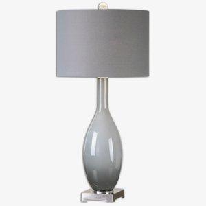 David Nickel Lamp Table (Uttermost 26180 Vallo Smoke Gray Glass Lamp)