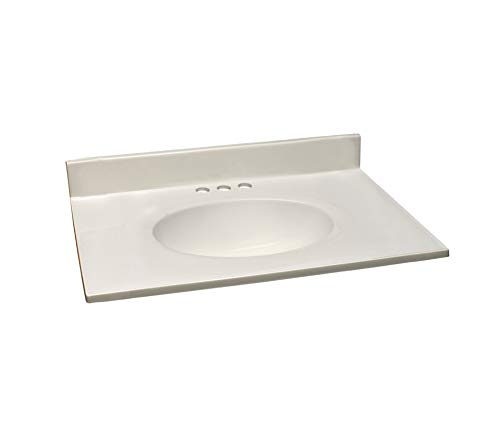 Design House 586289 Cultured Marble Vanity Top 31x19, White (31 Inch Bathroom Vanity Sink)