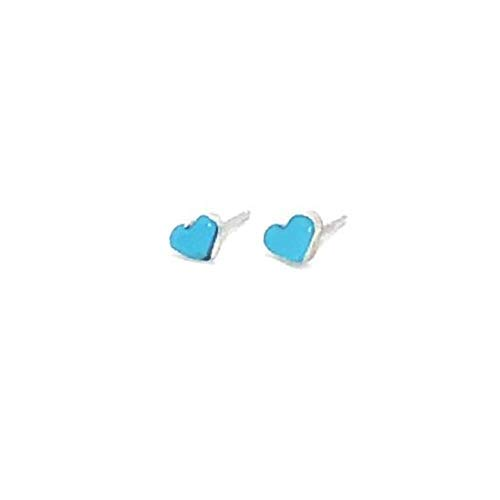 (Genuine Sleeping Beauty Turquoise Heart Stud Earrings, 925 Sterling Silver, Authentic Native American Handmade in the USA, Natural Stone, Small and Dainty for Women, Light Blue, Southwest Jewelry)
