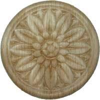 Veneered Oak Decorative Flower Medallion Ornament Round Applique - 3-1/2