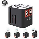 Universal Travel Adapter, All-in-one International Power Adapter with 4 USB, International Power Plug Adapter for EU, UK…