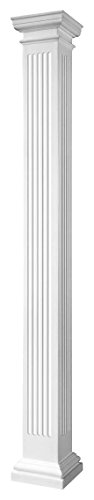 Endura-Stone Square Non-Tapered Fluted Column (FRP), Smooth Paint-Grade, Tuscan Capital & Base, 8