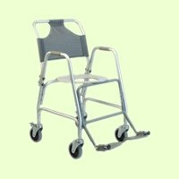 Lumex Deluxe Aluminum Shower Transport Chair with Footrests, 5-Inch Swivel Casters, Silver 7915A-1