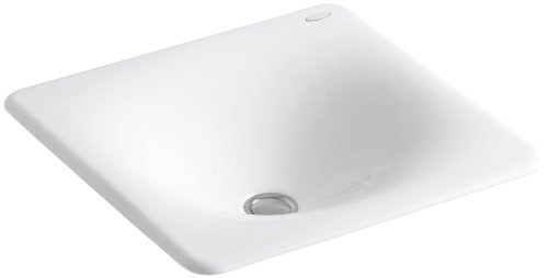 KOHLER K-2827-0 Iron/Tones Cast Iron Bathroom Sink, White