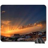 superb sunrise over hilltop village Mouse Pad, Mousepad (Sky Mouse Pad)