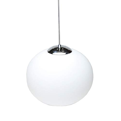 Huahan Haituo Hanging Globe One-Light Pendant with Smooth White Glass Diffuser, White Finish (15cm)