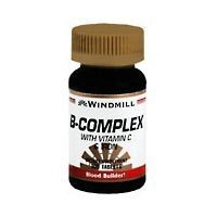 Vitamin B-complex 100 Tablets - Windmill B-Complex Tablets with Vitamin C and Iron Supplement - 100 Ea