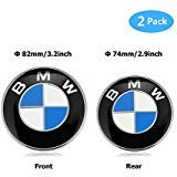 BMW Emblems Hood and Trunk, BMW Emblem Logo Replacement 82mm + 74mm for ALL Models BMW E30 E36 E46 E34 E39 E60 E65 E38 X3 X5 X6 3 4 5 6 7 8 (82mm + 74mm)