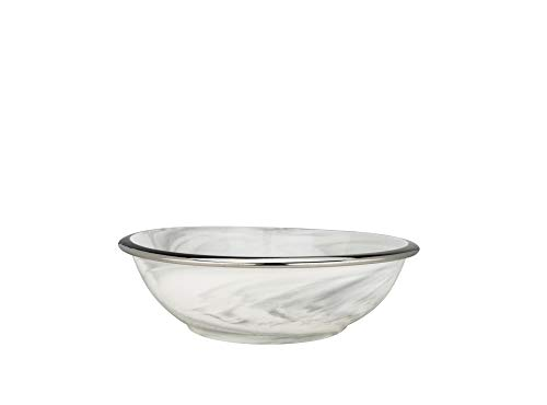 Yedi YCC746, 10'' Porcelain Big Salad Bowl w/Marble Pattern and Platinum Rim, Elegant Fruits/Snacks Serving Bowl, Sophisticated ()