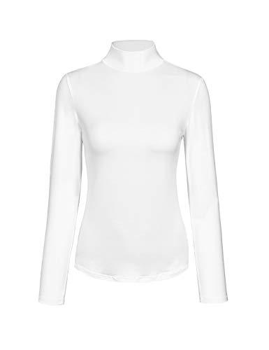 KLOTHO Womens Long Sleeve Mock Turtleneck Lightweight Pullover Slim Shirt Top White Small