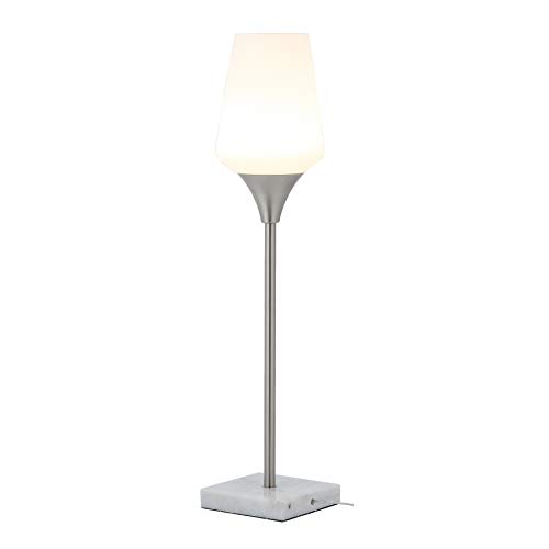 LED Console Table Lamp Stand Night Lamp with Opal Tulip Glass Shade and Real Marble Base in Brushed Nickel Finish Modern Living Room Lamps, 8W (600LM) Output, CCT 3000K, ETL Listed
