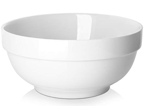 DOWAN Porcelain Serving Bowls, 2 Quarts for Soup, Salad and Pasta - White, Set of 2, 8 Inch (Large Bowl)