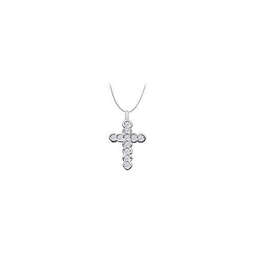 oss Necklace Pendant in 14K White Gold 0.33 Carat Diamonds ()